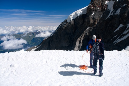 Two climbers in Swiss Alps Stock Photo - 11803967