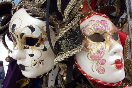 painted face mask: Two traditional venetian masks