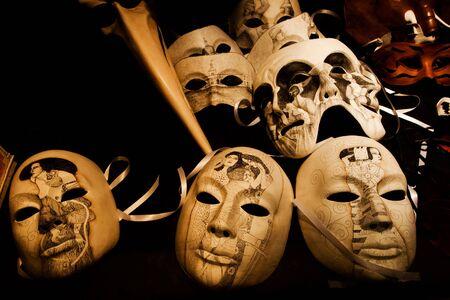 painted face mask: Venetian carnival masks Stock Photo