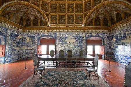 Sintra National Palace, Portugal, Knights hall with golden ceiling