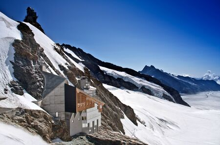 jungfraujoch: Jungfraujoch, Swiss AlpsJungfraujoch railway station, which at an elevation of 3,454 meters (11,332 ft) is the highest railway station in Europe Editorial