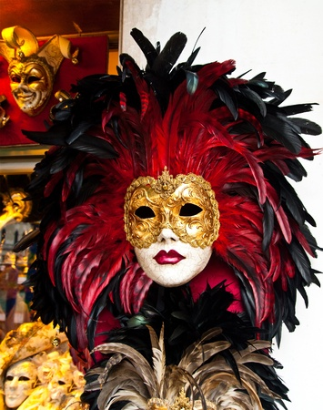 black mask: Red, black and golden Venetian mask
