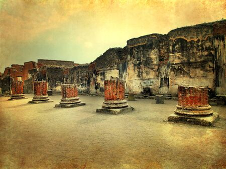 sorrento: Pompeii, Italy, Roman ruins after the eruption of Vesuvius, artistic version