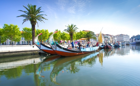 ria: Aveiro, Portugal The panorama of Aveiro city and canal with boats