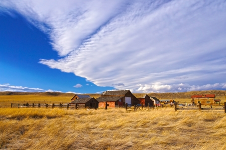 forsaken: Old wooden houses in ghost town in Colorado, United States