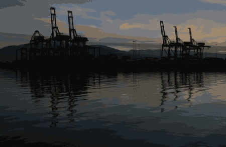 bulk carrier: Sunrise in Vancouver port Illustration