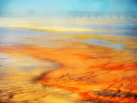 sights: Natural design in the ground created by minerals algae in Yellowstone National Park, United States