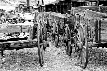 cody: Old carts in a Ghost town Cody, Wyoming, USA Stock Photo