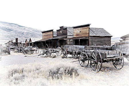 prairie: Cody, Wyoming, Old Wooden Wagons in a Ghost Town, United States Stock Photo