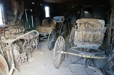 Old carriages at the old barn, wild west photo