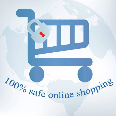 safe world: Safe online shopping design  Illustration