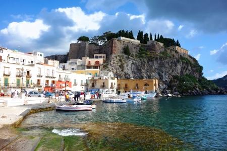 salina: Volcanic island Lipari, Eol islands, Sicily, Italy