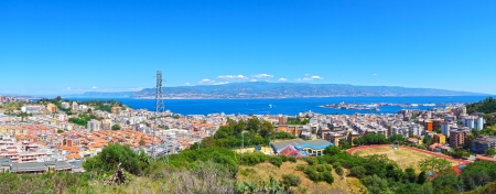 Strait between Sicily and Italy, view from Messina, Sicily, panoramic view