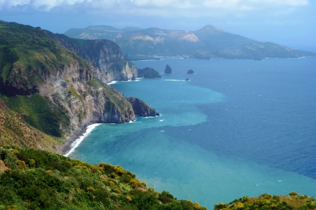 Beautiful view on Vulcano island from Lipari island, Italy Stock Photo