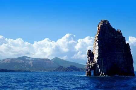 lipari: Cliff near Vulcano Island, Tyrrhenian Sea, Sicily, Italy Stock Photo