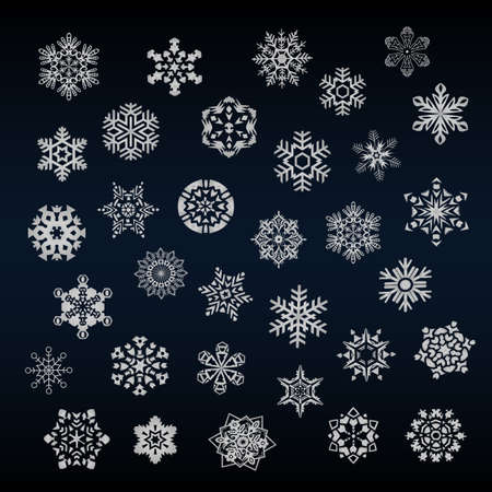 Set of different snoflakes vector Vector