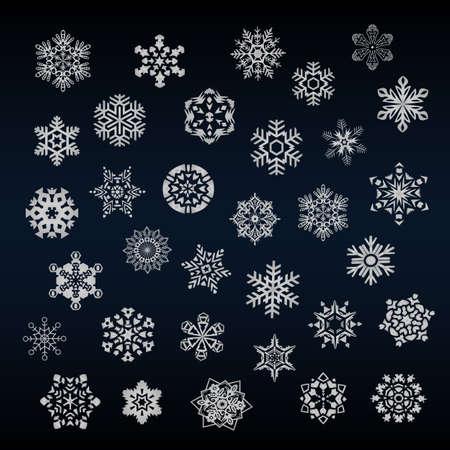 snowflake set: Set of different snoflakes vector