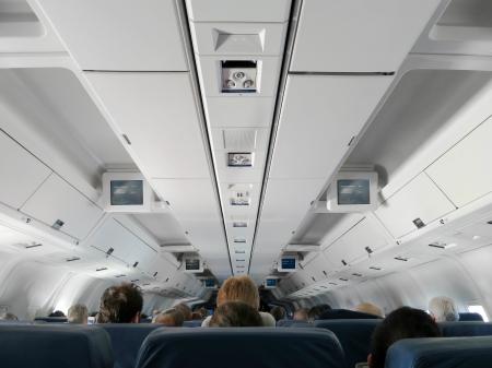 Airplane interior - people sitting on seats