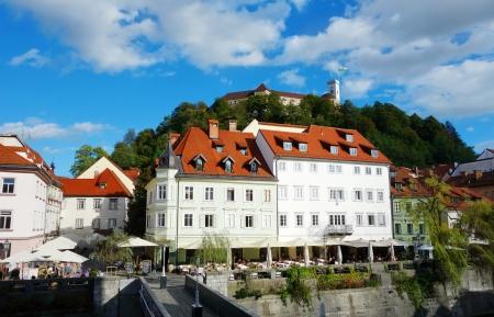 ljubljana: Ljubljana, capital of Slovenia, Europe, old part of town with Ljubljana castle Editorial
