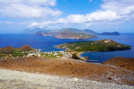 vulcano: Landscape view of Lipari islands taken from Volcano island, Sicily, Italy Stock Photo