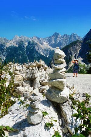 slovenian: Balanced Zen stones in Slovenian Alps near Kranjska Gora Stock Photo