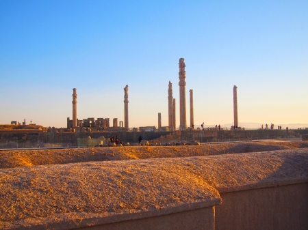 shiraz: Sunset Ruins of ancient city of Persepolis, Iran Stock Photo