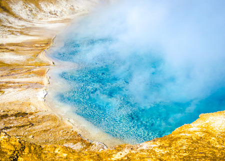 sunny day and beautiful colors in Yellowstone National Park, Wyoming, USA