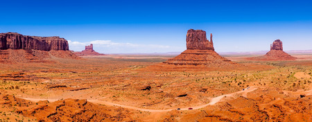 west usa: The famous Buttes of Monument Valley, Utah, USA, panoramic view Stock Photo