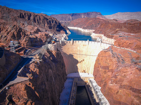 hoover: Hoover Dam across the Border of Nevada and Arizona, USA