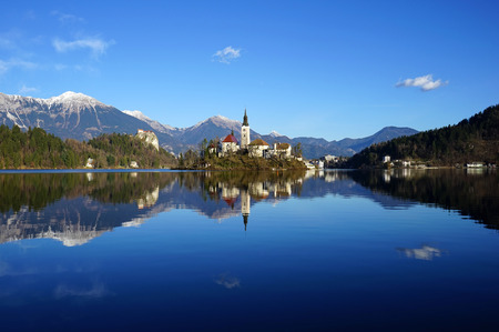 assumption: Lake Bled with St. Marys Church of the Assumption on the small island. Bled, Slovenia, Europe