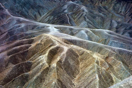 ridges: Death Valley National Park, California, USA, Heavily Eroded Ridges At Zabriskie Point Stock Photo