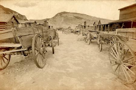 古い西、古い道町、コーディ, ワイオミング州, アメリカ合衆国、ヴィンテージ版 写真素材