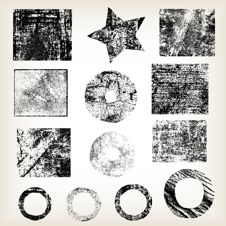 distress: Set of different grunge objects vector