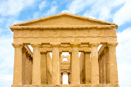 concordia: Agrigento, Sicily, Italy. Famous Valle dei Templi, Greek temple - remains of the Temple of Concordia