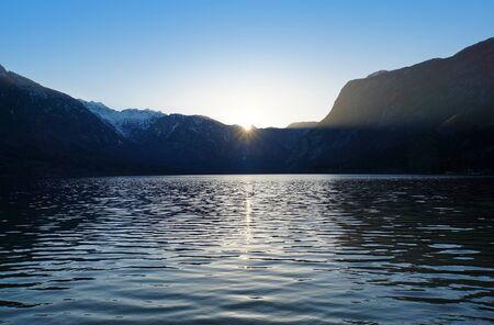 bohinj: Bohinj lake at sunset, Triglav national park, Alps, Slovenia, Europe