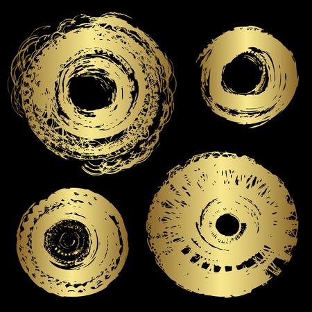 ovalo: Elementos del vector de oro del grunge