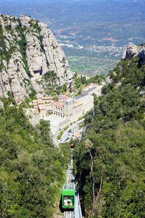 Santa Maria de Montserrat Abbey in Monistrol de Montserrat, Catalonia, Spain. Famous for the Virgin of Montserrat Editorial