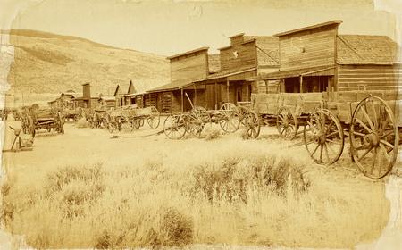 古い西、古い道町、コーディ, ワイオミング州, アメリカ合衆国、ヴィンテージのポストカード版