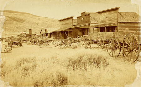 west: Old west, Old trail town, Cody, Wyoming, United States, vintage postcard version