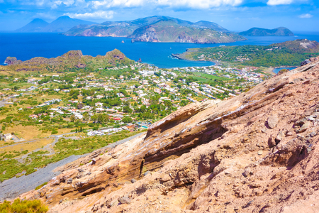 lipari: Landscape view of Lipari islands taken from Volcano island, Sicily, Italy Stock Photo