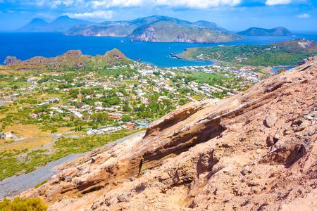 stromboli: Landscape view of Lipari islands taken from Volcano island, Sicily, Italy Stock Photo