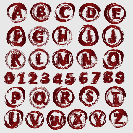 worn sign: Letters and numbers vector