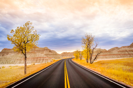 on the hill: Badlands Loop Road through the Yellow Mounds area of Badlands National Park in South Dakota, USA Stock Photo