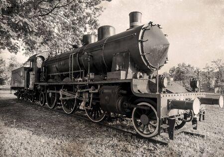 Old steam engine locomotive, vintage version Stock Photo
