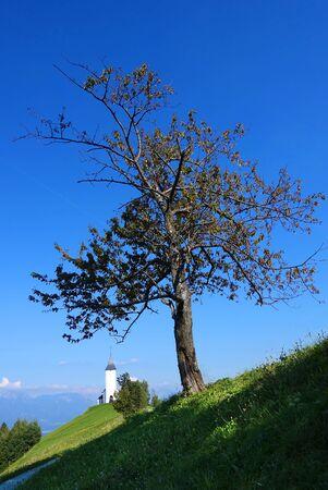 karavanke: Church of St. Primoz near Jamnik with Alps, Slovenia, Europe