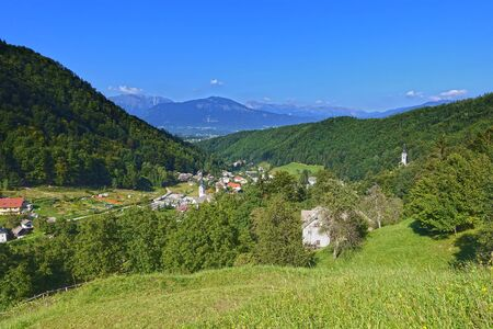 cataract: The ancient village of Kropa situated in Gorenjska, Slovenia, panoramic view Stock Photo