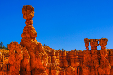 thor's: Great spires carved away by erosion in Bryce Canyon National Park, Utah, USA. The largest spire is called Thors Hammer Stock Photo