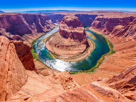 panoramic view: Horseshoe Bend on the Colorado River near Page, Arizona, USA, panoramic view Stock Photo