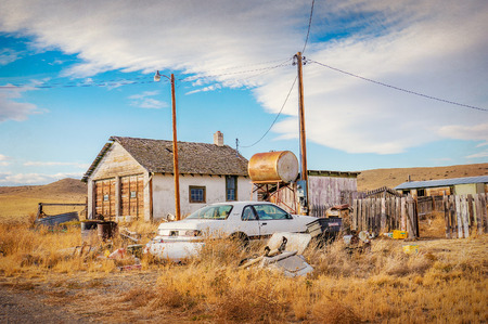 the miners: Ghost town somewhere in Colorado, United States,  vintage version