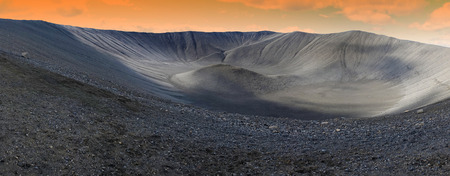 crater lake: Hverfjall crater in Myvatn area, northern Iceland, panoramic view